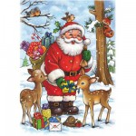 DToys-67616-CH01 Jigsaw Puzzle - 35 Pieces - Christmas Collection : Santa Claus and his Reindeer