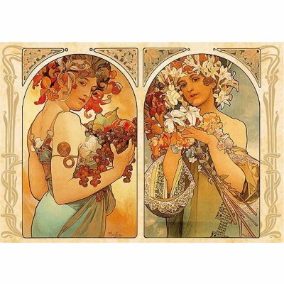 Dtoys-70074 Jigsaw Puzzle - 1000 Pieces - Alphonse Mucha : Fruit and Flower Dyptich