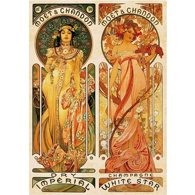 Dtoys-70081 Jigsaw Puzzle - 1000 Pieces - Alphonse Mucha : Moet and Chandon, Cremant Imperial