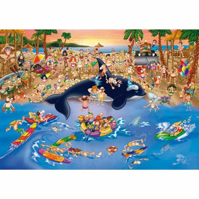 Dtoys-70876 Jigsaw Puzzle - 1000 Pieces - Cartoon Collection : Trafic Jam at the Beach