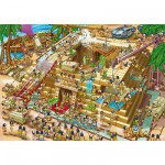 DToys-70890 Jigsaw Puzzle - 1000 Pieces - Cartoon Collection : Building the Pyramids, Egypt