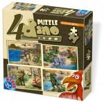 Dtoys-73051-DP-01 4 Jigsaw Puzzles - Dino