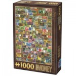 Puzzle  Dtoys-74362-VC04-VP14 Vintage Collage - Banknotes