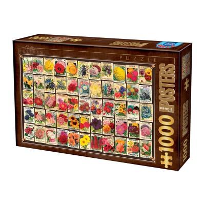 Puzzle Dtoys-74492 Vintage Collage - Flowers