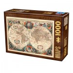 Puzzle  Dtoys-75710 Antique World Map