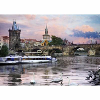 Puzzle DToys-77240 Jigsaw Puzzlle - 1000 Pieces -- Nocturnal Landsacapes : Prague, Czech Republic
