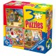 Magnetic puzzles of 6, 9 and 12 pieces: Pinocchio, Hansel, Gretel and Blanche Neige