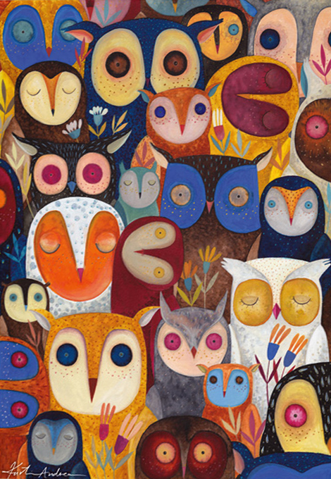 Kurti Andi - Collage - Owls 1000 piece jigsaw puzzle