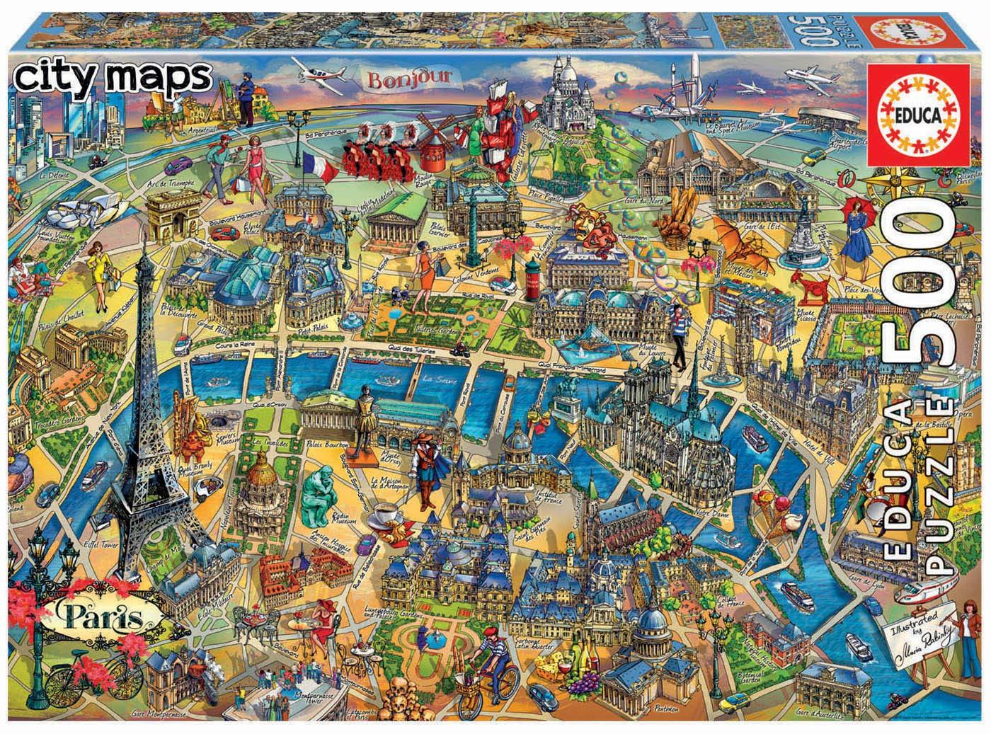 Puzzle City Maps - Paris Educa-18452 500 pieces Jigsaw Puzzles ...