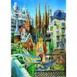 Educa-11874 Jigsaw Puzzle - 1000 Pieces - Mini - Gaudi : Collage