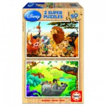 Educa-13144 Jigsaw Puzzles - 50 pieces each - 2 in 1 - Wooden - Disney : My Animals Ffriends