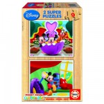 Educa-13467 Jigsaw Puzzles - 9 pieces each - 2 in 1 - Wooden - Mickey Club