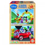 Educa-13470 Jigsaw Puzzles - 25 pieces each - 2 in 1 - Wooden - Mickey Club