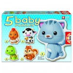 Educa-13473 Jigsaw Puzzles - 3 to 5 Pieces - 5 Baby Puzzles - Animals