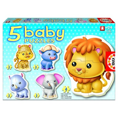 Educa-14197 Jigsaw Puzzles - 3 to 5 Pieces - 5 Baby Puzzles - Wild Animals