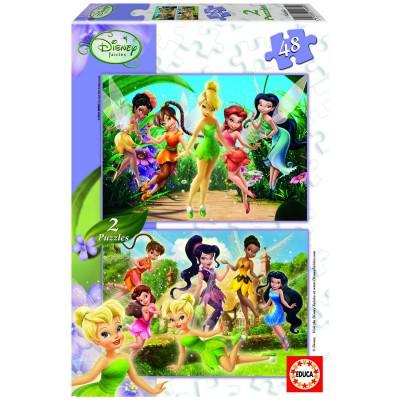 Educa-14660 Jigsaw Puzzles - 48 pieces each - 2 in 1 - Disney Fairies