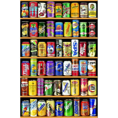 Educa-14835 Jigsaw Puzzle - 1000 Pieces - Mini - Drinking Cans