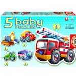 Educa-14866 Jigsaw Puzzles - 3 to 5 Pieces - 5 Baby Puzzles - Engines