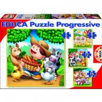 Educa-14867 Jigsaw Puzzles - 43 pieces each - 4 in 1 - Farm Animals