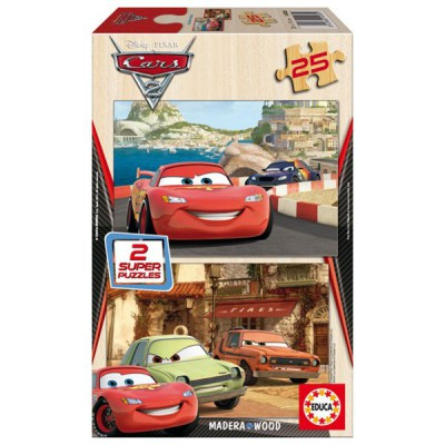 Educa-14935 Jigsaw Puzzles - 25 pieces each - 2 in 1 - Wooden - Disney Cars 2 : Flash McQueen, Grem and Acer