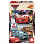Educa-14936 Jigsaw Puzzles - 50 pieces each - 2 in 1 - Wooden - Disney Cars 2 : Flash McQueen, Martin, McMissile