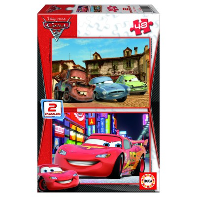 Educa-14939 Jigsaw Puzzles - 48 pieces each - 2 in 1 - Wooden - Disney Cars 2 : Piston Cup and Radiator Springs
