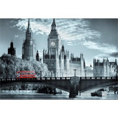 Educa-15180 Jigsaw Puzzle - 1000 Pieces - Black & White Collection : London Bus
