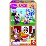 Educa-15279 Jigsaw Puzzle - 2 x 25 Pieces - Wooden Puzzle - Mickey and his Friends : Minnie