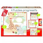 Educa-15491 Jigsaw Puzzle - From 6 to 16 Pieces - 4 Puzzles : Sophie the Giraffe