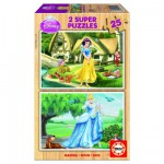 Educa-15591 Jigsaw Puzzle - 2 x 25 Wooden Pieces - Disney Princesses : Snow-White and Cinderella