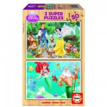 Educa-15592 Jigsaw Puzzle - 2 x 50 Wooden Pieces - Disney Princesses : Snow-White and Ariel