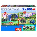 Educa-15620 Jigsaw Puzzle - 2 x 100 Pieces : Dino World