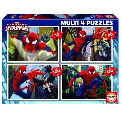 Educa-15642 Jigsaw Puzzle - From 50 to 150 Pieces - 4 Puzzles : Ultimate Spider-Man