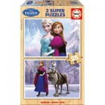Educa-16162 2 Wooden Jigsaw Puzzles - Frozen