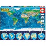 Educa-16760 Neon Jigsaw Puzzle - World Map