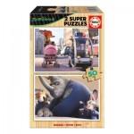 Educa-16804 2 Wooden Jigsaw Puzzles - Zootropolis