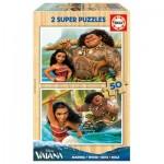 Educa-16950 2 Wooden Jigsaw Puzzles - Vaiana