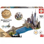 Educa-17000 3D Wooden Jigsaw Puzzle - Brooklyn Bridge, Manhattan Dream