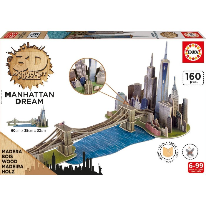 3D Wooden Jigsaw Puzzle - Brooklyn Bridge, Manhattan Dream