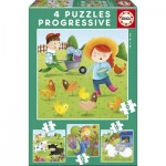 Educa-17145 4 Jigsaw Puzzles - Farm Animals