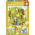 Educa-17147 4 Jigsaw Puzzles - Wild Animals