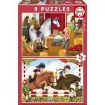 Educa-17150 2 Jigsaw Puzzles - Horses