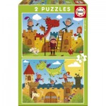 Educa-17151 2 Jigsaw Puzzles - Dragons and Knights