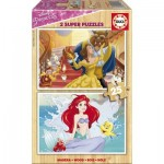 Educa-17164 2 Wooden Jigsaw Puzzles - Disney Princess