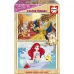 Educa-17164 2 Wooden Jigsaw Puzzles - Disney Princess