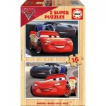 Educa-17172 2 Wooden Jigsaw Puzzles - Cars