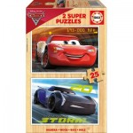 Educa-17173 2 Wooden Jigsaw Puzzles - Cars