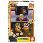 Educa-17231 2 Wooden Jigsaw Puzzles - Minions