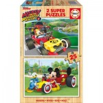 Educa-17234 2 Wooden Jigsaw Puzzles - Mickey and The Roadster Racers