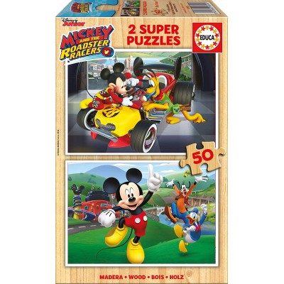 Educa-17236 2 Puzzles - Mickey and The Roadster Racers